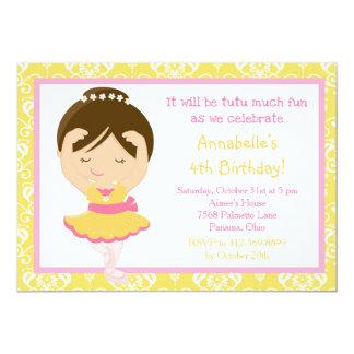 Cute Brunette Ballerina and Yellow Damask Card