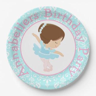 Cute Brunette Ballerina Birthday Party Paper Plate