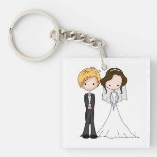 Cute Brunette Bride and Blonde Groom Cartoon Double-Sided Square Acrylic Key Ring
