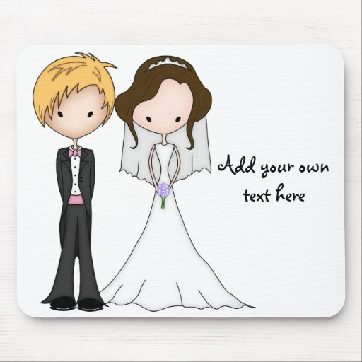Cute Brunette Bride and Blonde Groom Cartoon Mouse Pads