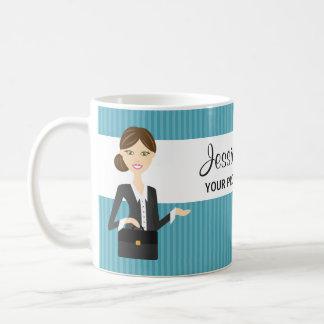 Cute Brunette Business Woman Illustration Mug