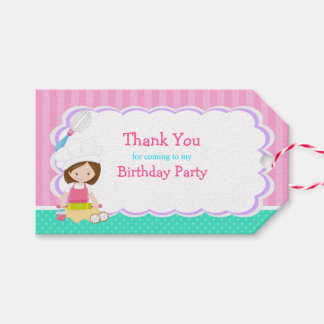 Cute Brunette Girl Baking Birthday Gift Tag