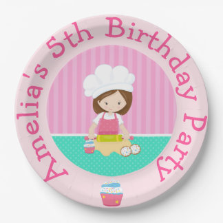 Cute Brunette Girl Baking Birthday Party Paper Plate