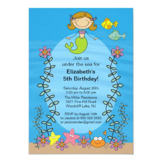"""Cute Brunette Mermaid Birthday Invitation 5"""" X 7"""" Invitation Card"""