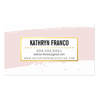 CUTE BRUSH STROKE stylish painted pale pink gold Pack Of Standard Business Cards