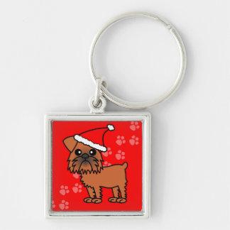 Cute Brussels Griffon Cartoon Santa Hat Key Ring