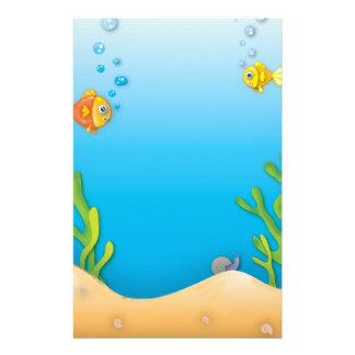 cute bubble fish underwater scene customized stationery