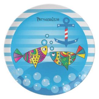 Cute Bubble Fishy Theme Party Plates