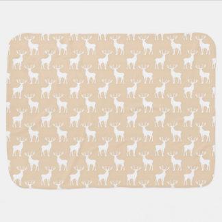 Cute Buck Deer Pattern in Brown and White Baby Blanket