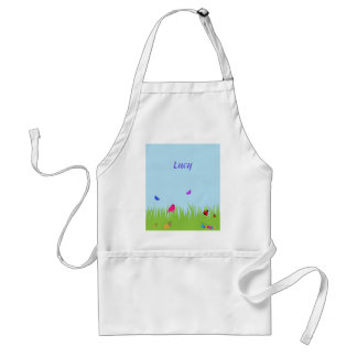 Cute bugs and bird in grass with blue sky standard apron