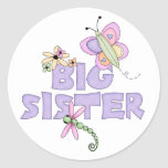 Cute Bugs Big Sister Round Sticker