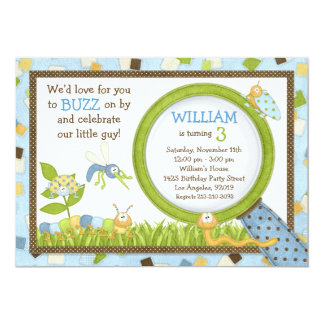 "Cute Bugs Birthday Party Invitation 5"" X 7"" Invitation Card"