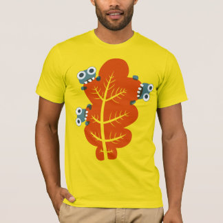 Cute Bugs Eat Autumn Leaf Mens T-Shirt