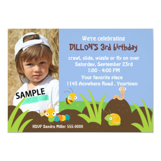 Cute Bugs Photo Birthday 13 Cm X 18 Cm Invitation Card