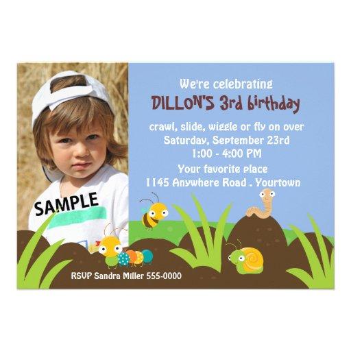 Cute Bugs Photo Birthday Personalized Invite