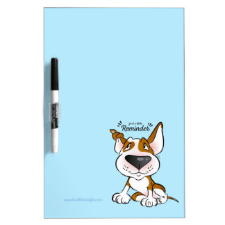 Cute Bull Terrier Cartoon Dry Erase Board