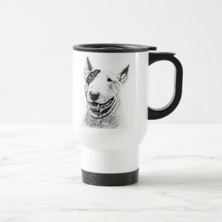 Cute Bull Terrier dog art Travel Mug