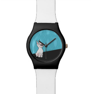 Cute Bull Terrier puppy cartoon watch black/white