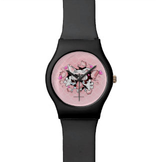 Cute Bull Terrier puppy cartoon watch in black