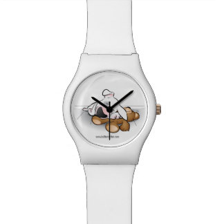 Cute Bull Terrier puppy cartoon watch in white