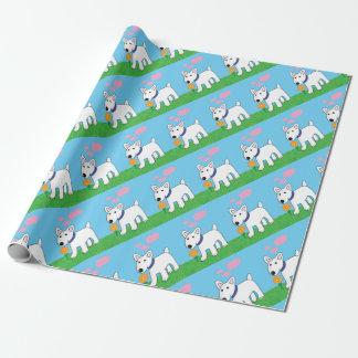 Cute Bull Terrier w Flower Wrapping Paper