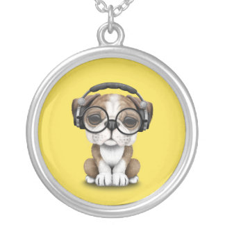 Cute Bulldog Puppy Dj Wearing Headphones Silver Plated Necklace