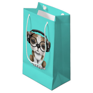 Cute Bulldog Puppy Dj Wearing Headphones Small Gift Bag