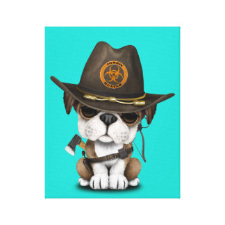 Cute Bulldog Puppy Zombie Hunter Canvas Print