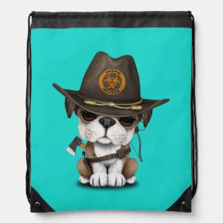 Cute Bulldog Puppy Zombie Hunter Drawstring Bag