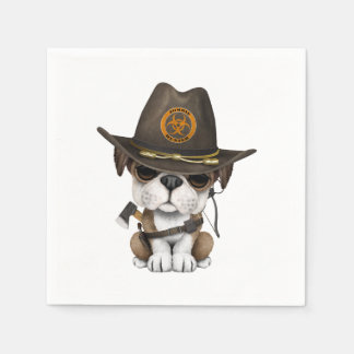 Cute Bulldog Puppy Zombie Hunter Paper Napkin