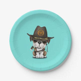 Cute Bulldog Puppy Zombie Hunter Paper Plate
