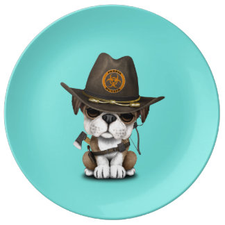 Cute Bulldog Puppy Zombie Hunter Plate