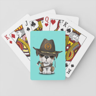 Cute Bulldog Puppy Zombie Hunter Playing Cards