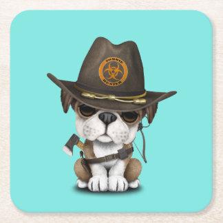 Cute Bulldog Puppy Zombie Hunter Square Paper Coaster