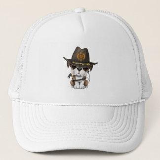 Cute Bulldog Puppy Zombie Hunter Trucker Hat