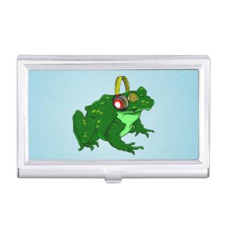 Cute Bullfrog Wearing Headphones Case For Business Cards