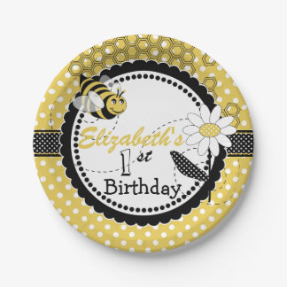 Cute Bumble Bee 1st Birthday Party 7 Inch Paper Plate