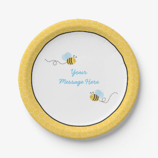Cute Bumble Bee Baby Shower 7 Inch Paper Plate