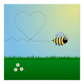 Cute bumble bee cartoon poster