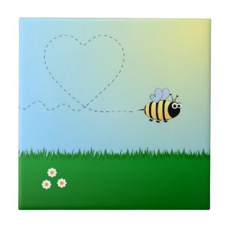 Cute bumble bee cartoon small square tile