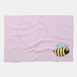 Cute bumble bee cartoon tea towel