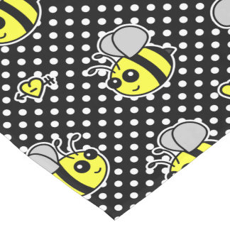 Cute Bumble Bee Pattern Black Short Table Runner