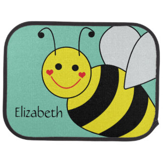 Cute Bumble Bee Personalized Car Mat