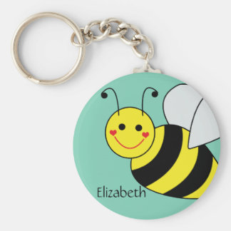 Cute Bumble Bee Personalized Key Ring