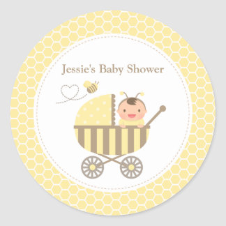 Cute Bumble Bee Stroller Baby Shower Labels Round Sticker