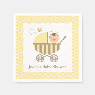 Cute Bumble Bee Stroller Baby Shower Supplies Paper Napkins