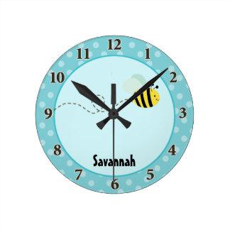 Cute Bumble Bee Wall Clock Add a Name (Blue)
