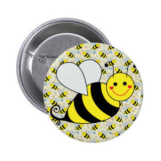 Cute Bumble Bee with Pattern 6 Cm Round Badge