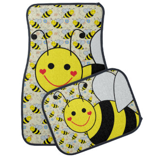Cute Bumble Bee with Pattern Floor Mat