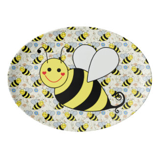 Cute Bumble Bee with Pattern Porcelain Serving Platter